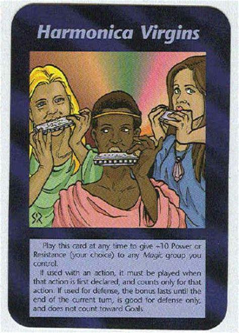 illuminati harmonica virgins  world order game card