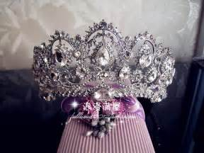 New fashion bridal crown Large tiara rhinestone crown for bridal hair accessories bridal wedding headdress B124