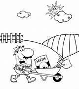 Farmer Clipart Coloring Farm Gardener Working Outline Wheelbarrow Barrow Contadino Tools Graines Mandlig Een Mann Drives Semillas Maschio Clip Spinta sketch template