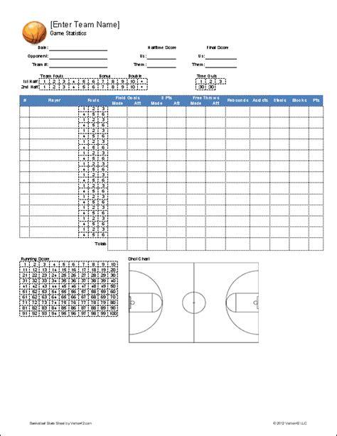 basketball stat sheet   printable