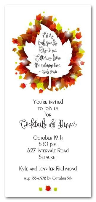 Layered Autumn Leaves Party Invitations