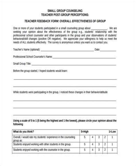 group counseling evaluation form sle counseling feedback forms 8 free documents in