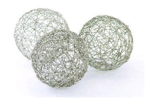 silver decorative balls nickel wire balls decorative spheres orbs 4in set of 6
