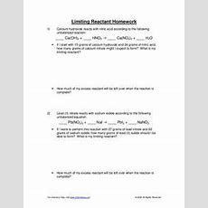 Limiting Reactant Worksheet For 10th  12th Grade  Lesson Planet
