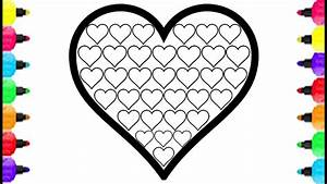 Heart Coloring Pages How To Draw Heart Fill Full Mini Heart Coloring Rainbow Colors Glitter For