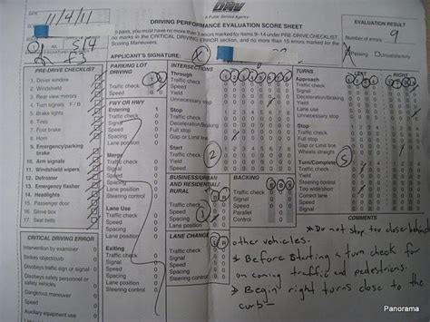 driving performance evaluation score sheet how is a driving test scored quora