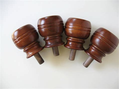 vintage lot of 4 wood post finials bed posts wood salvage