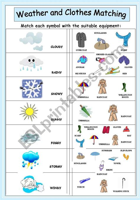 weather and clothes matching esl worksheet by coyote chus
