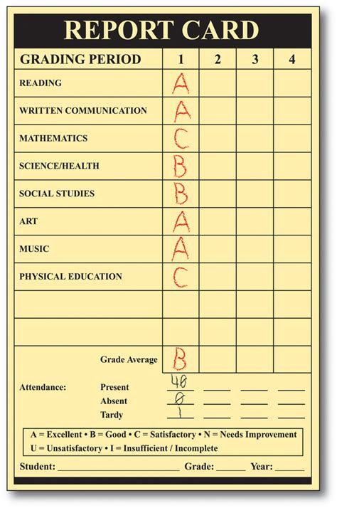 Fake College Report Card Template
