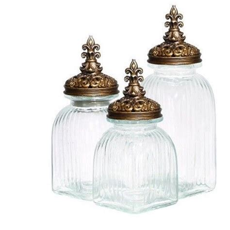 glass kitchen canister set clear glass canister set w gold lids 3 decorative