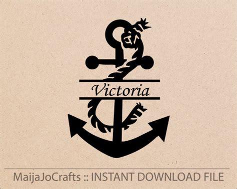 anchor split monogram svg cutting file dxf file instant