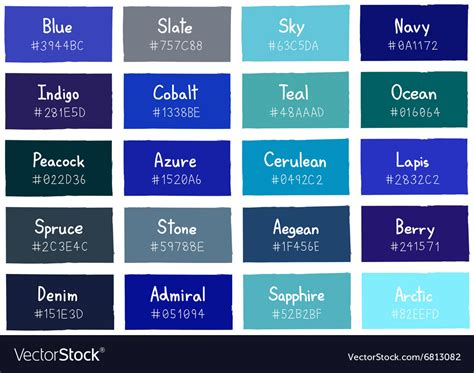 blue color codes blue tone color shade background with code vector image