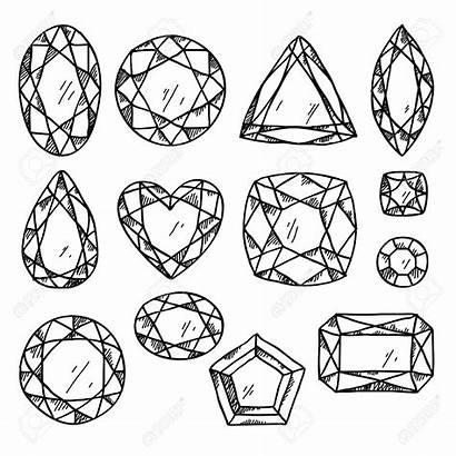 Jewels Gemstones Illustration Gem Gemstone Coloring Line