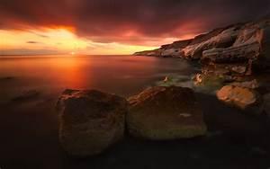 Ocean sea hdr water shore coast rocks cliff sunrise sunset ...