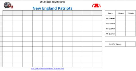 2018 bowl squares template excel spreadsheets help bowl squares template 2018 superbowl lii grid