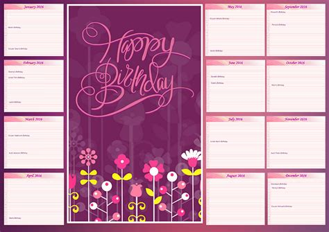 Family Birthday Calendar Template by Family Birthday Calendar Ideas Creative Photo Design
