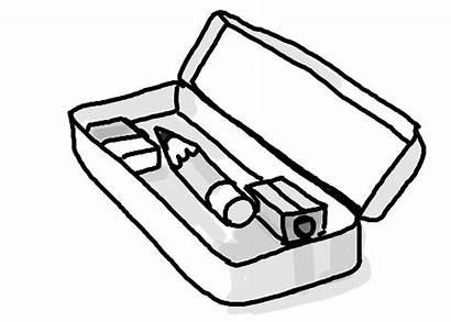 Pencil Case Clipart Box Cases Clip Coloring
