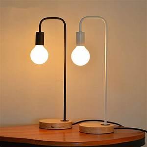 Aliexpress.com : Buy Nordic Wood Iron Table Lamp Bedroom ...