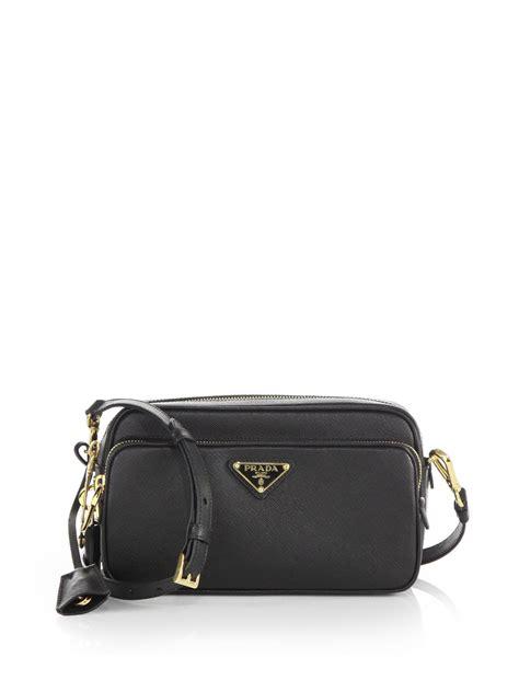 prada saffiano lux double zip crossbody bag  black nero