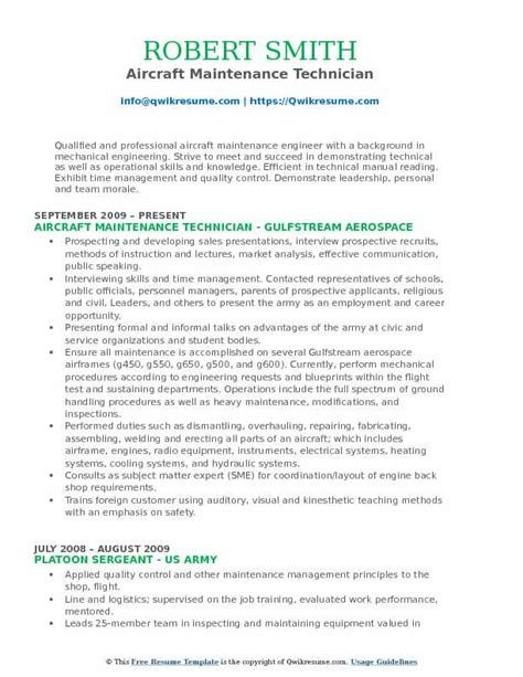 Aircraft Mechanic Cv by Aircraft Technician Resume Sles Qwikresume