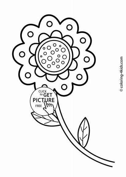 Flower Coloring Drawing Flowers Pages Printable Vase
