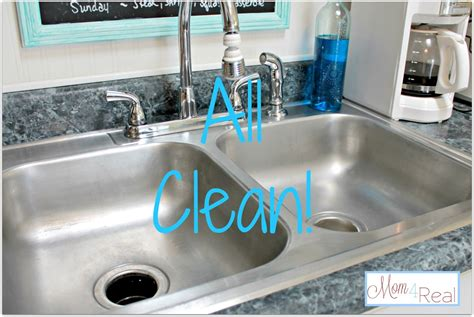 clean  stainless steel kitchen sink mom  real
