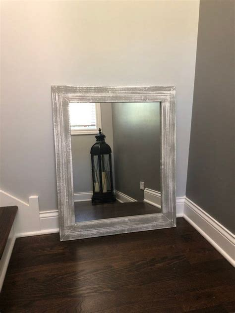 gray  white base wood mirror wood framed mirror rustic