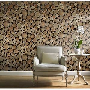 Grandeco Wood Logs Wallpaper at Homebase.co.uk