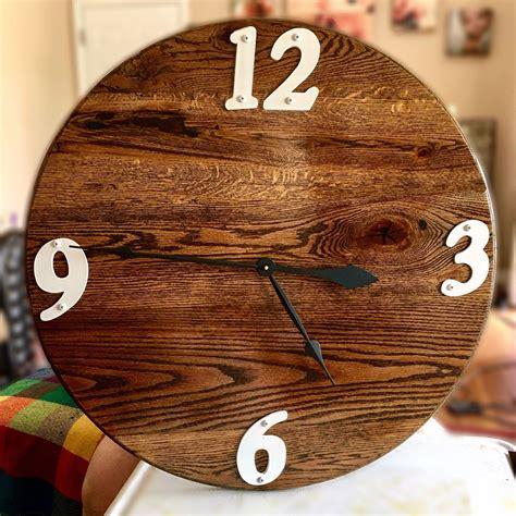 custom barn horse furniture wood clock into stained oak reclaimed walnut