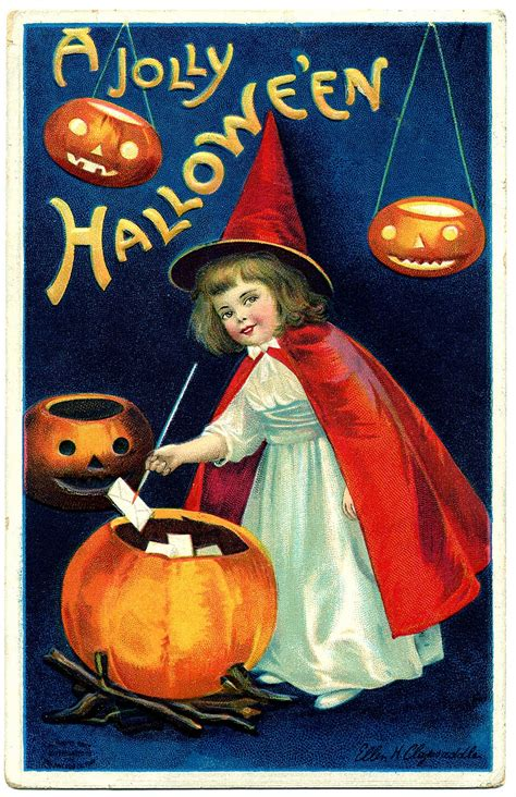 vintage halloween clip art sweet  witch girl