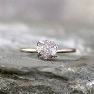 raw uncut rough diamond engagement ring 14k white gold With rough diamond wedding ring