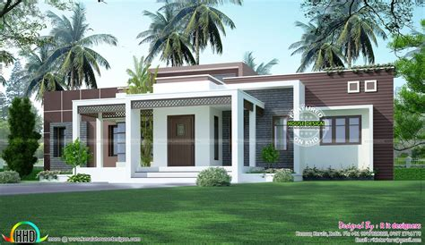 Kerala Home Design One Floor Plan by 1775 Sq Ft Flat Roof One Floor Home Exteriors Bungalow