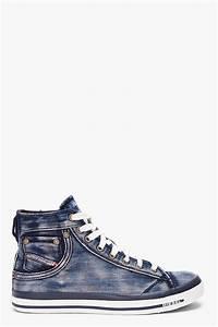 diesel washed denim exposure sneakers in blue for lyst