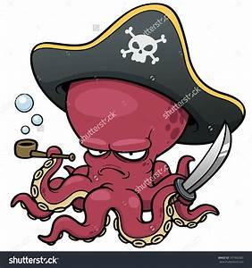 Vector Illustration Of Cartoon Pirate Octopus - 167962583 ...