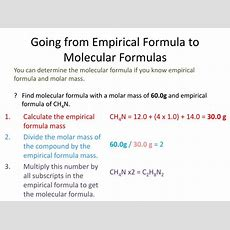 Ppt  Percent Composition & Chemical Formulas (empirical To Molecular) Chapter 103 Powerpoint