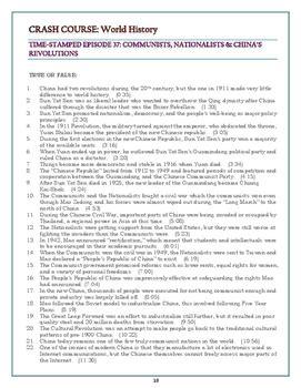 crash  world history worksheets episodes