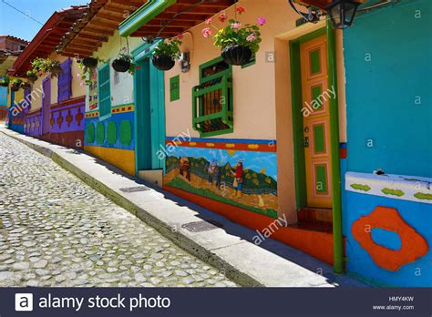 Colorful Colonial by Colorful Colonial Houses In Guatape Colombia Stock Photo