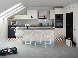 Petit Ilot Cuisine : ilot central cuisine gris cuisine en image ~ Premium-room.com Idées de Décoration