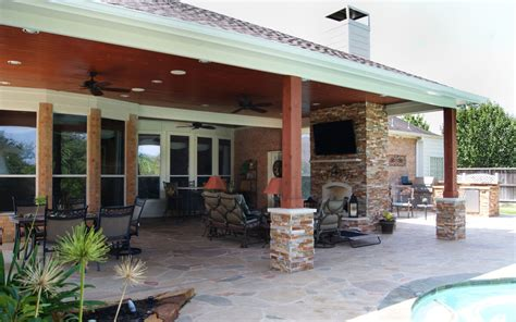 Cypress Patio Cover With Fireplace & Kitchen