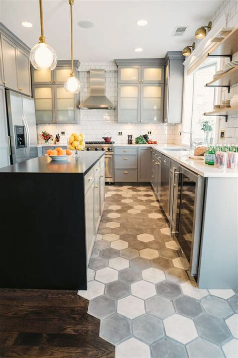 Creative Backsplash Ideas For Kitchens - 36 eye catchy hexagon tile ideas for kitchens digsdigs