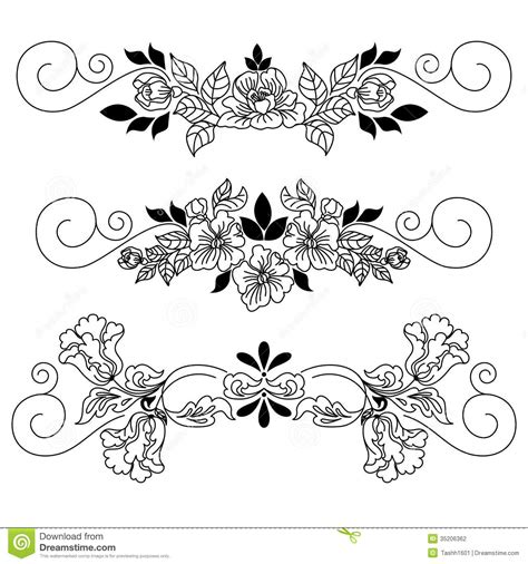 Drawing Flowers Vignette Stock Illustration Illustration