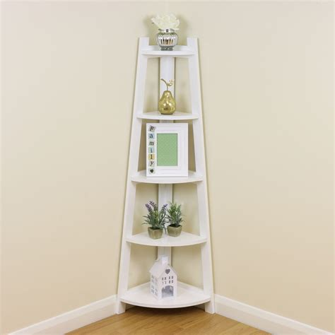 white  tier tall corner shelfshelving unit display stand