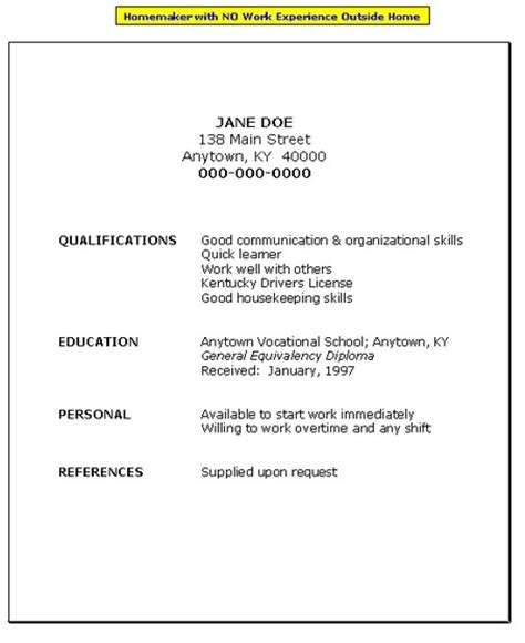 Free Resume Template With No Work Experience by Sle Resume Format February 2016