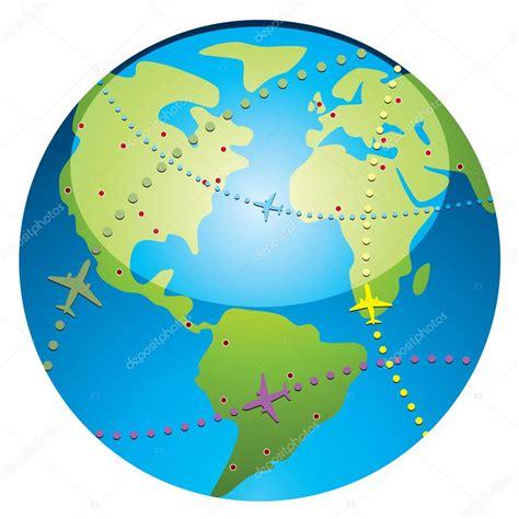 foto de Vecteur des trajectoires de vol davion sur le globe