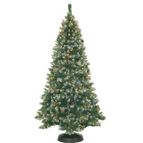 pre lit 7 frosted pine artificial christmas tree 500 clear lights walmart com