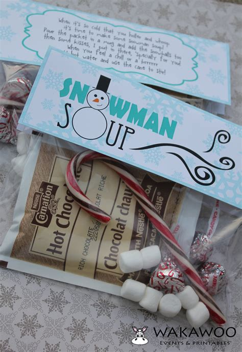 snowman soup labeltag printable  christmasholiday gift