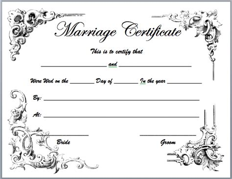 marriage certificate templates microsoft word templates