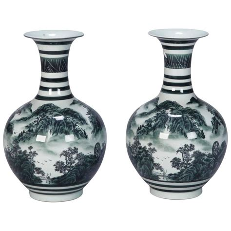 Green Vases For Sale by Pair Of Green And White Porcelain Vases For Sale