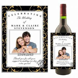 personalised black gold swirls wedding celebration wine With champagne labels for weddings
