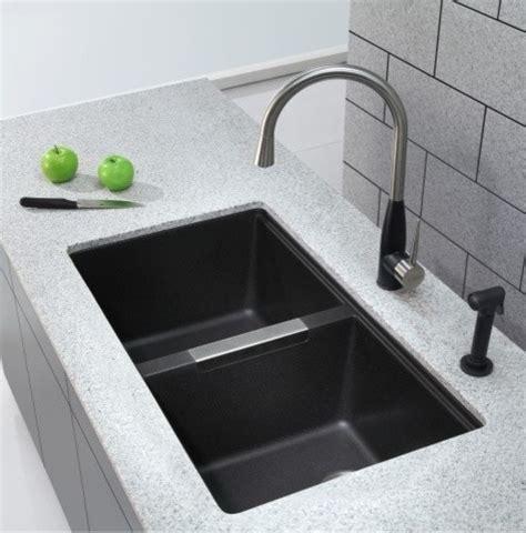 kraus sinks kitchen sink kraus 33 inch undermount 50 50 bowl black onyx